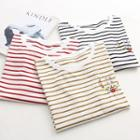 Floral Embroidered Striped Short-sleeve T-shirt