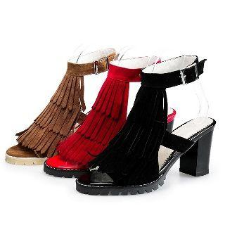 Faux-suede Fringe Chunky-heel Sandals
