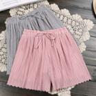 Plain Drawstring Pleated Skort
