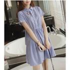 Striped Short Sleeve A-line Shirtdress