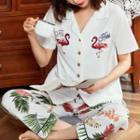 Loungewear Set: Short-sleeve Print Top + Pants