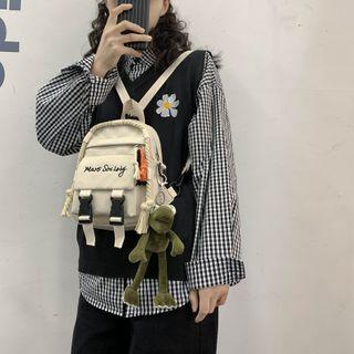 Letter Embroidered Convertible Mini Canvas Backpack