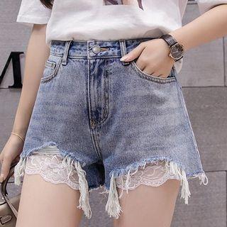 Lace Panel Frayed Denim Shorts