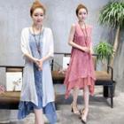Sleeveless Layered Printed Dress / Elbow-sleeve Long Cardigan
