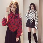 Tie-neck Dotted Long-sleeve Blouse