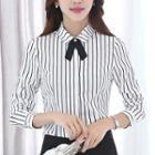 Slim-fit Blazer / Pinstriped Shirt / Dress Pants / Mini Pencil Skirt