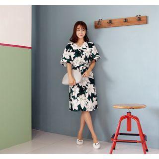 V-neck Floral Print Dress With Sash