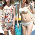 Set: Bikini + Floral Print Sleeveless Top + Shorts