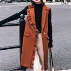 Frill-trim Buttoned Long Vest