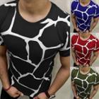 Short-sleeve Crack Print T-shirt