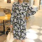 Mandarin-collar Tie-waist Floral Shirtdress