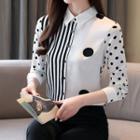 Stripe Panel Dotted Shirt