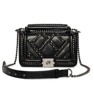 Faux Leather Chain Accent Handbag With Shoulder Strap