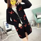 Cross Print Long Cardigan