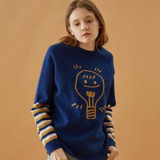 Stripe-detail Printed Sweater