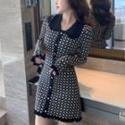 Patterned Collared Knit Dress