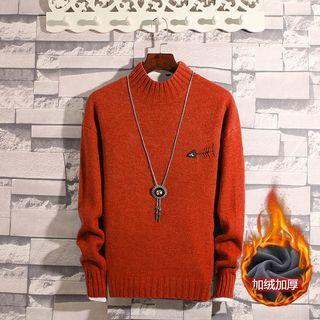 Mock Neck Fish Bone Embroidered Sweater