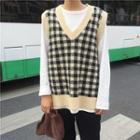 Checked Knit Vest