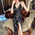 Spaghetti Strap Print Bodycon Dress