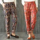 Print Linen Cotton Pants