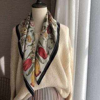 Flower Print Square Scarf