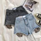 Lettering Frayed High-waist Denim Shorts