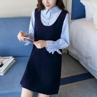 Set: Tie-cuff Pinstriped Shirt + Sleeveless Mini Dress