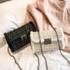Tweed Push Lock Crossbody Bag