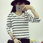 Striped V-neck Long-sleeve T-shirt
