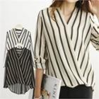 Wrap-front Stripe Blouse Black - One Size