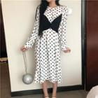 Mock Two-piece Dotted Long-sleeve Midi A-line Dress