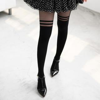 Striped Two-tone Tights