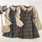 Color-block Peter-pan Collar Panel Plaid Long-sleeve Dress