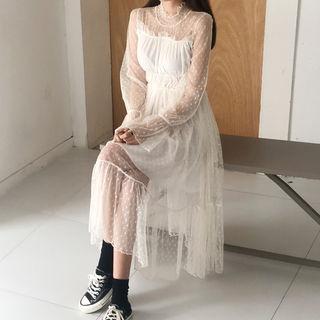 Polka-dot Sheer Panel Mesh Dress Cream - One Size