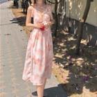Frilled Printed Sleeveless Dress