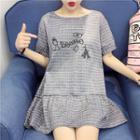 Short-sleeve Frilled Plaid Dress