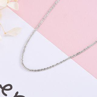 925 Sterling Silver Rhinestone Necklace Ns377 - White - One Size