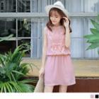 Sleeveless Elastic Waist Lace Paneled A-line Dress