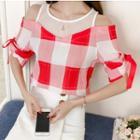 Plaid Open Shoulder Short-sleeve Top