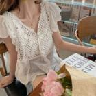 V-neck Short-sleeve Lace Peplum Blouse
