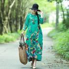 Long-sleeve Floral Print Midi Balloon Dress