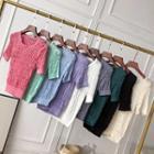 Short-sleeve Crinkle Knit Top