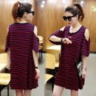 Cutout-shoulder Striped Tunic