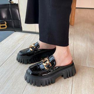 Chain Detail Platform Loafer Mules