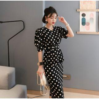 Set: Short-sleeve Dotted Blouse + Fitted Skirt