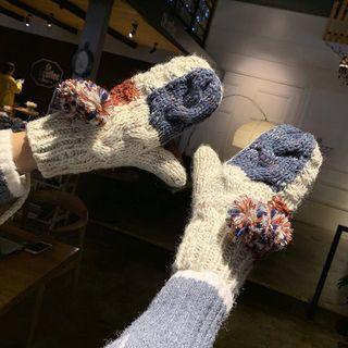 Bobble Colour Block Knit Mittens