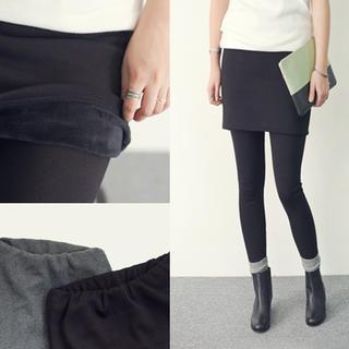 Fleece-lined Inset Skirt Leggings