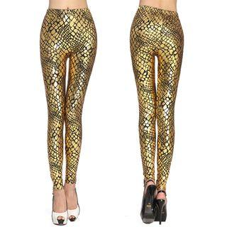 Metallic Snakeskin Print Leggings