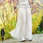 Frog Buttoned Wide-leg Pants