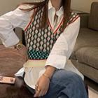 Shirt / Patterned Knit Vest